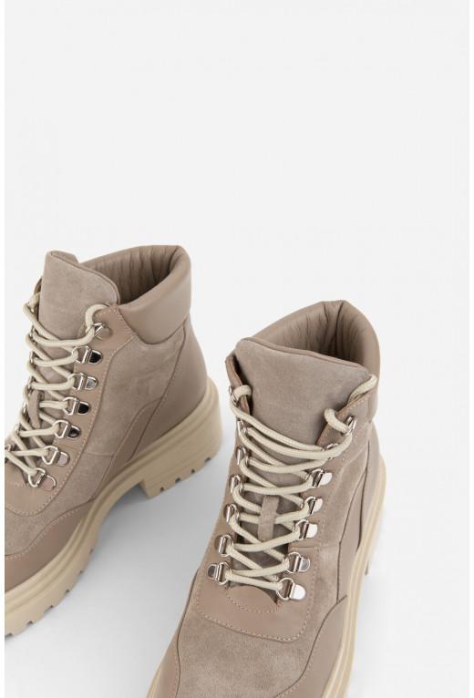Черевики бежеві шкіряні комбіновані на шнурівці /хутро/