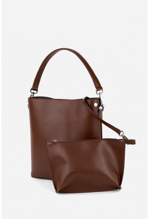 BOOK BAG з коричневої фактурної шкіри /срібло/