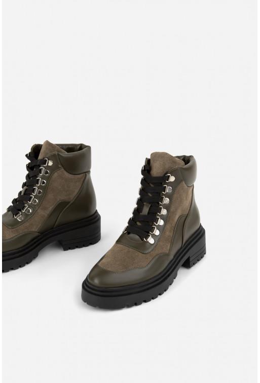 Черевики кольору хакі  на шнурівці /хутро/