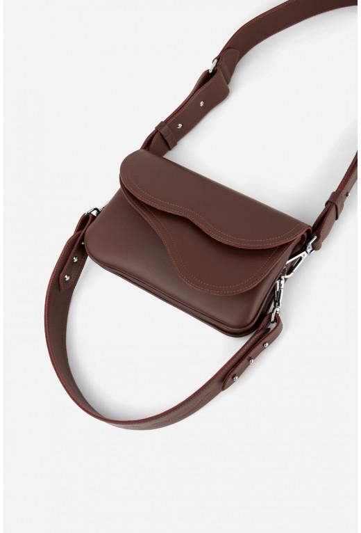Кросбаді Saddle bag 2 з бордово-коричневої гладкої шкіри /срібло/