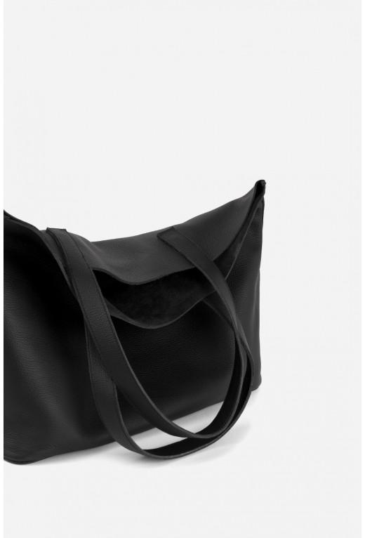 SHOPPER BAG з чорної шкіри флотар /срібло/