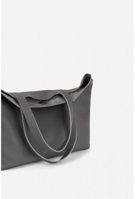 SHOPPER BAG з сірої шкіри флотар /срібло/