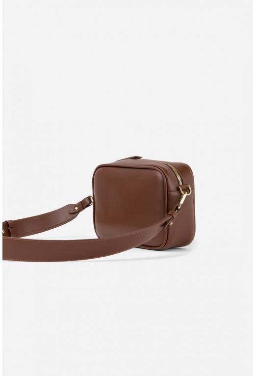 Кросбоді BRICK BAG  з коричневої фактурної шкіри /золото/