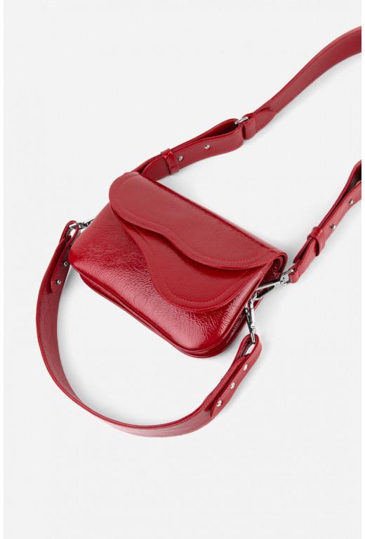 Кросбоді SADDLE BAG 2 з червоної лакованої шкіри /срібло/