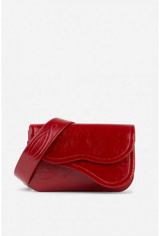 Кросбаді Saddle bag 2 з червоної лакованої шкіри /срібло/
