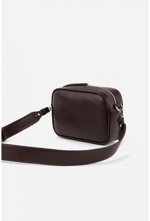 BRICK BAG  з шоколадної фактурної шкіри /срібло/