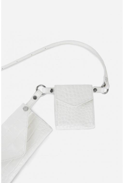 Belt Combo з білої шкіри під рептилію /срібло/