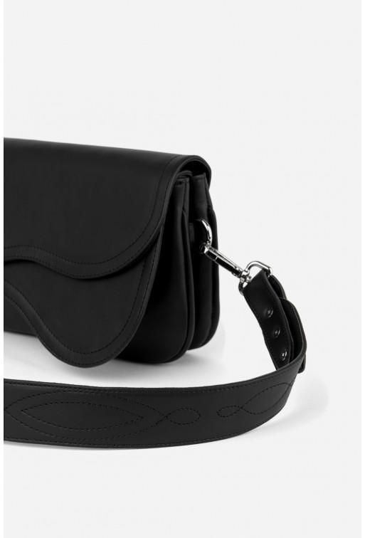 Кросбаді Saddle bag 2 з чорної гладкої шкіри /срібло/