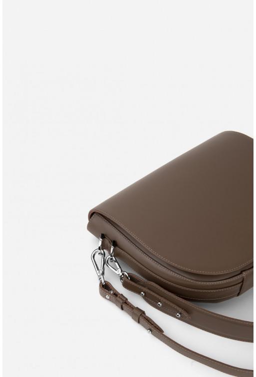 Кросбаді Saddle bag 1 з сіро-коричневої гладкої шкіри /срібло/
