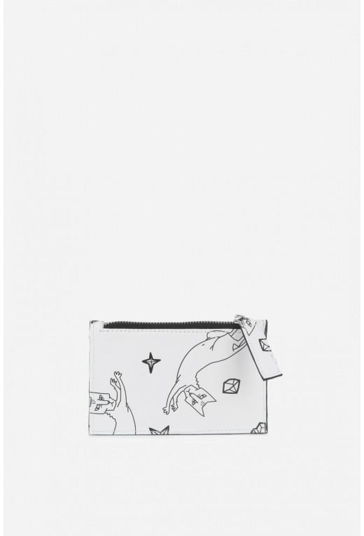 Double Zip Wallet   з білої шкіри /срібло/