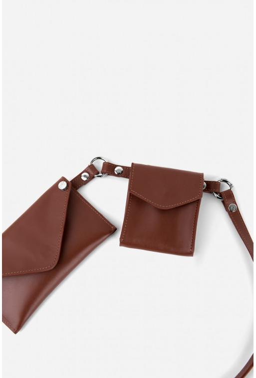 Belt Combo з коричневої гладкої шкіри /срібло/