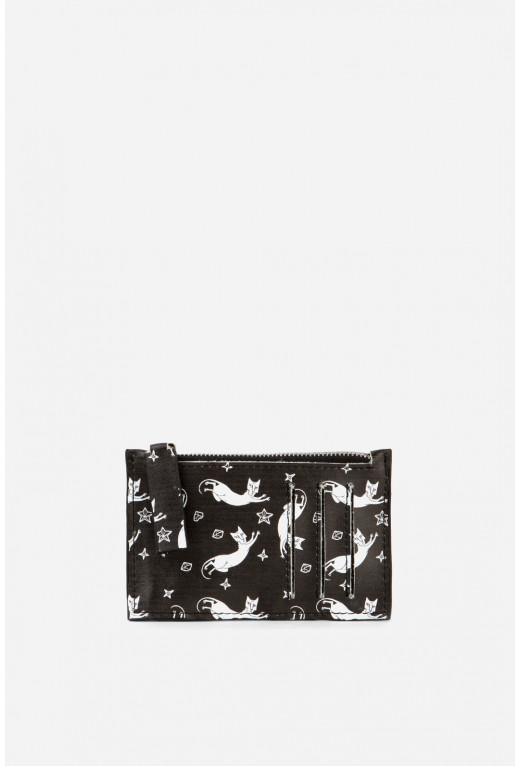 Double Zip Wallet  з чорної шкіри /срібло/