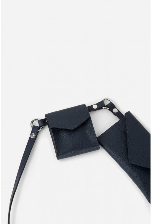Belt Combo кольору navy з фактурної шкіри /срібло/