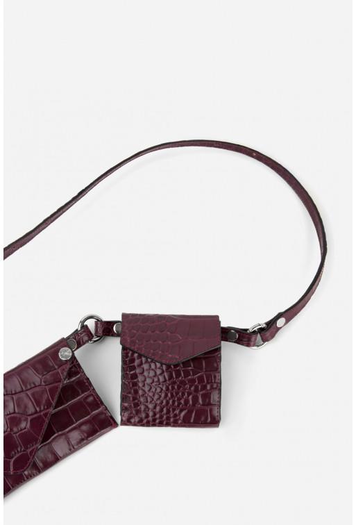 Belt Combo з бордової шкіри під рептилію /срібло/