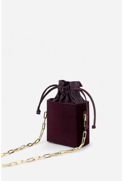 Кросбаді Rocket bag з сливової комбінованої шкіри /золото/