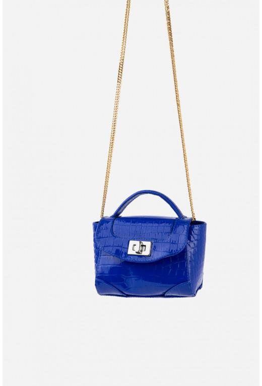 Kryhitka bag   кольору ультрамарин з тисненням під рептилію /золото/