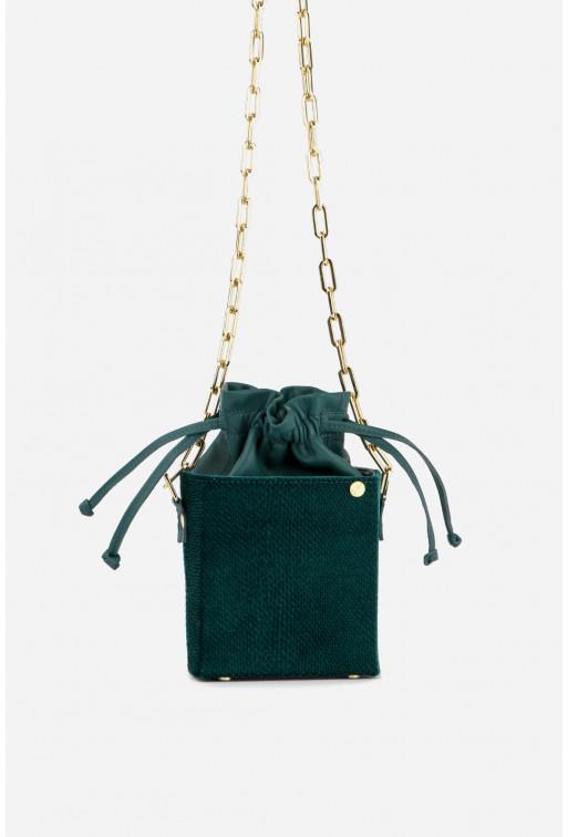 Кросбаді Rocket bag з смарагдової комбінованої шкіри /золото/