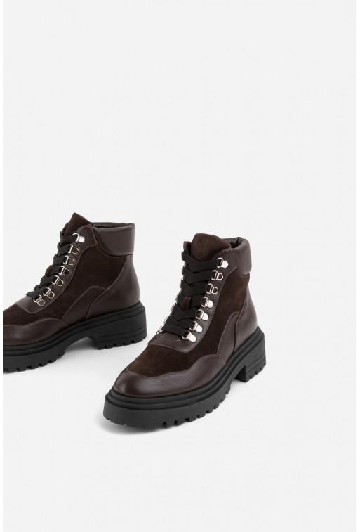 Черевики бордові шкіряні комбіновані на шнурівці /хутро/