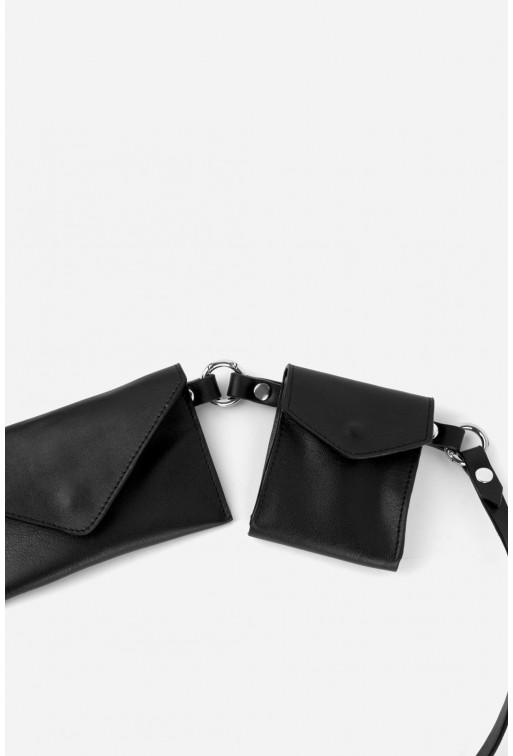 Belt Combo з чорної гладкої шкіри /срібло/