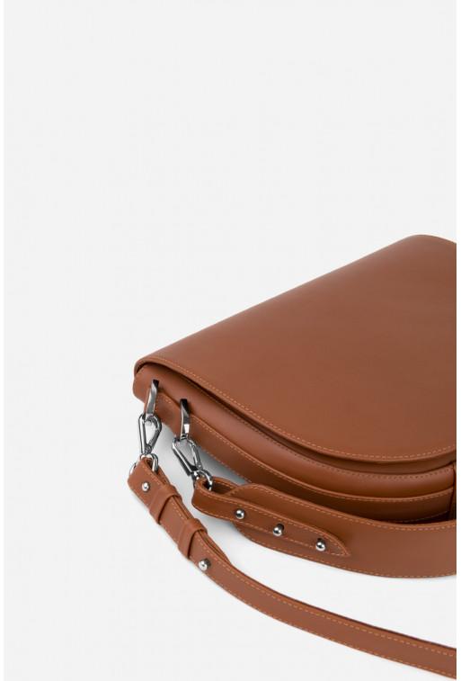 Кросбаді Saddle bag 1 з терракотової гладкої шкіри /срібло/
