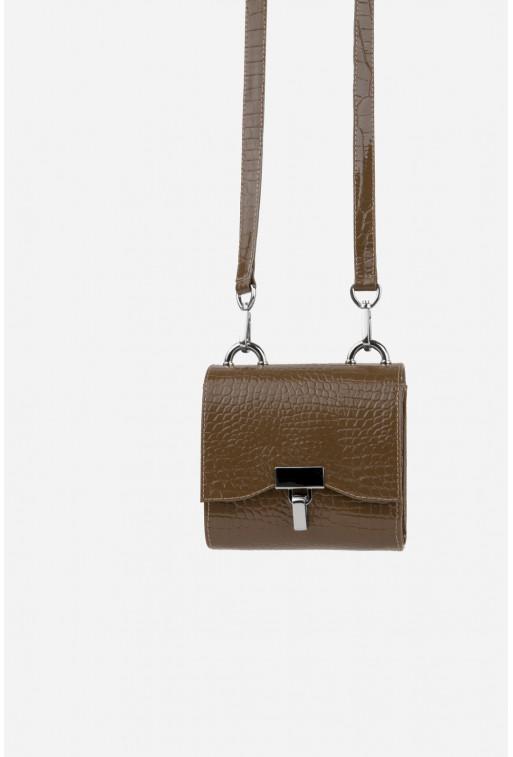 Кросбоді EVE BAG з коричневої тисненої шкіри /срібло/