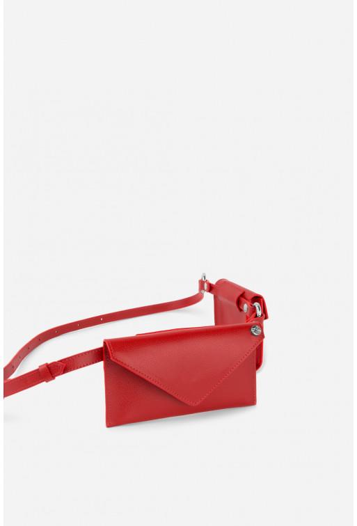Belt Combo з червоної фактурної шкіри /срібло/