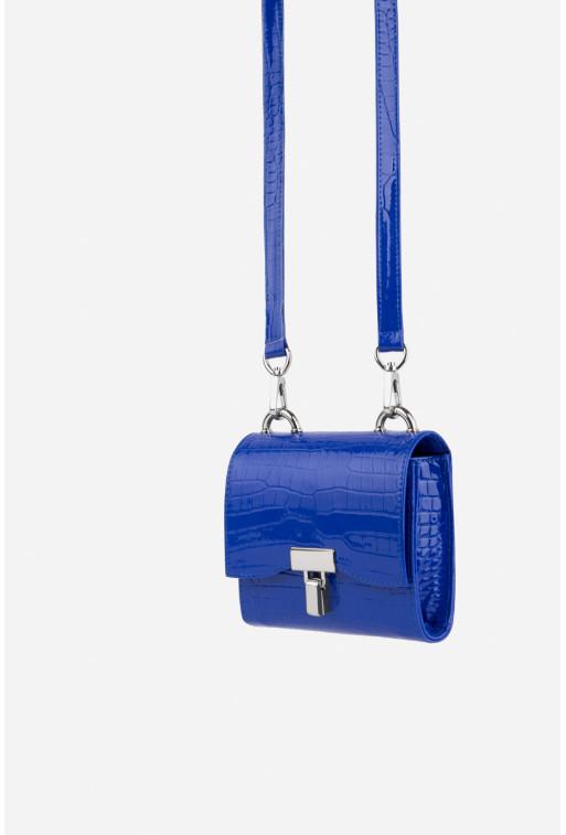 Кросбоді EVE BAG кольору ультрамарин з тисненої шкіри /срібло/