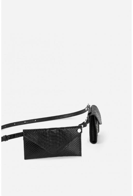 Belt Combo з чорної шкіри під рептилію /срібло/