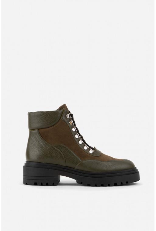 Черевики оливково-коричневі на шнурівці /хутро/