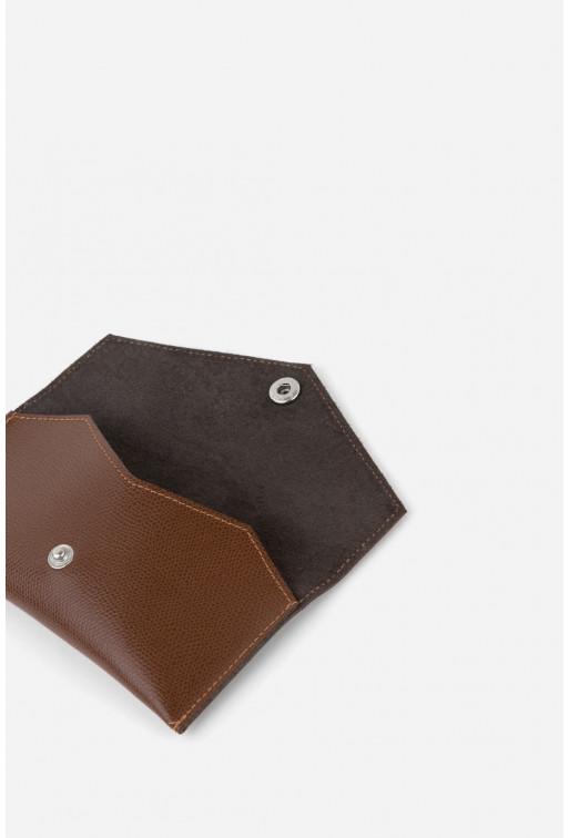Гаманець з темно-коричневої фактурної шкіри /срібло/
