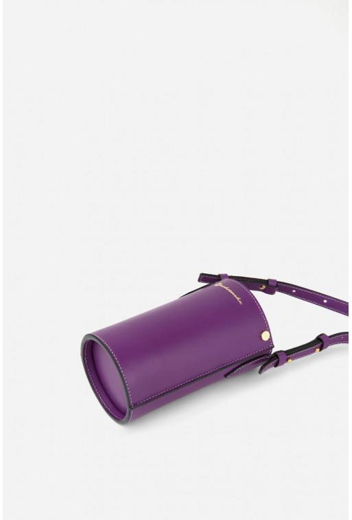 Кросбоді BOTTLE CASE  з фіолетової гладкої шкіри /золото/