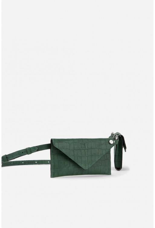 Belt Combo з зеленої шкіри під рептилію /срібло/