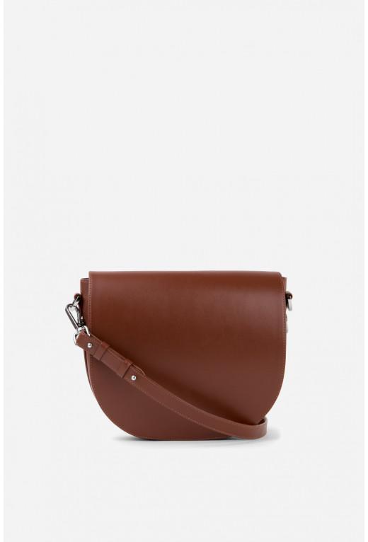 Кросбаді Saddle bag 1 з коричневої гладкої шкіри /срібло/