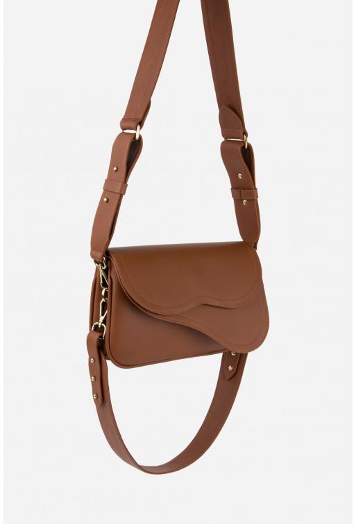 Кросбаді Saddle bag 2 з терракотової гладкої шкіри /золото/