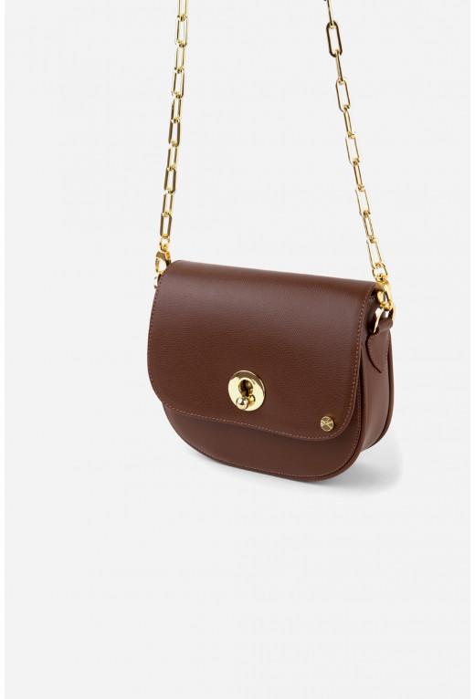 Кросбаді Rachel bag з коричневої шкіри /золото/