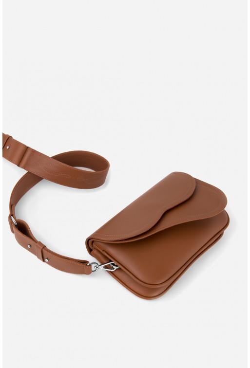 Кросбаді Saddle bag 2 з терракотової гладкої шкіри /срібло/