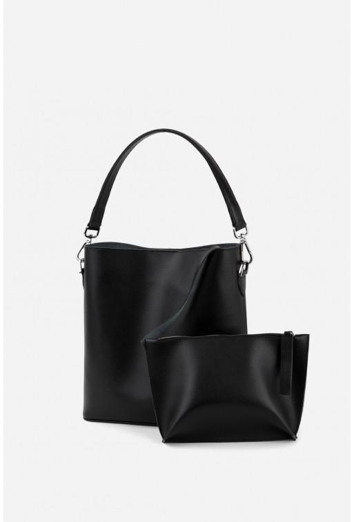 Шопер BOOK BAG  з чорної фактурної шкіри /срібло/