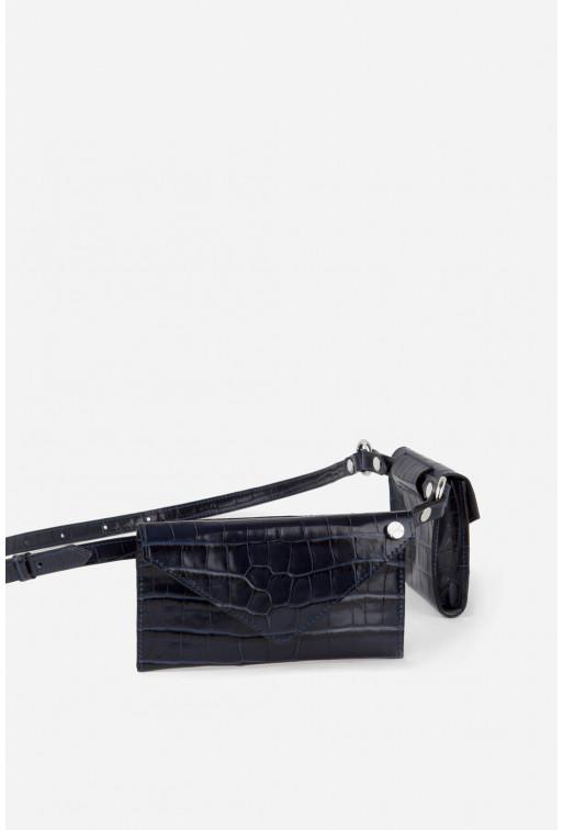 Belt Combo з темно-синьої шкіри під рептилію /срібло/