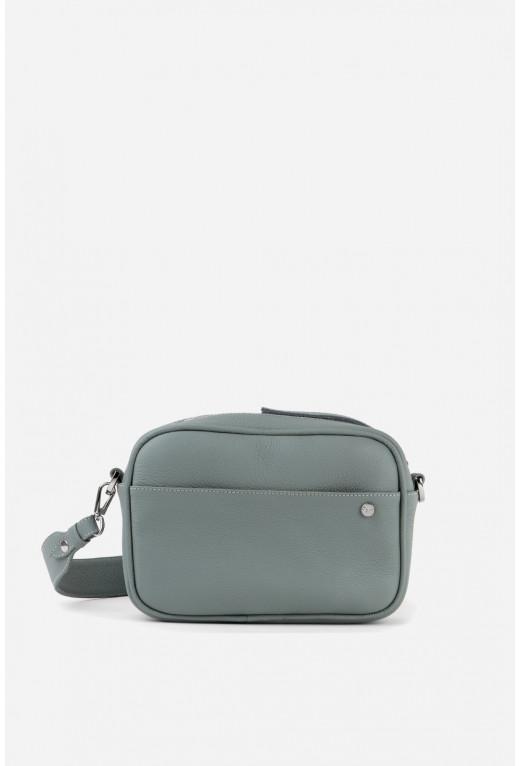 Кросбоді BRICK BAG  з cіро-блакитної шкіри флотар /срібло/