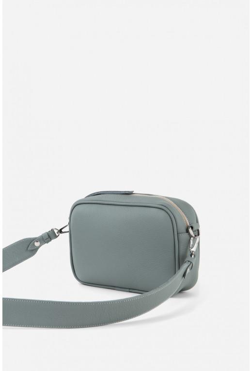 Кросбаді BRICK BAG  з cіро-блакитної шкіри флотар /срібло/