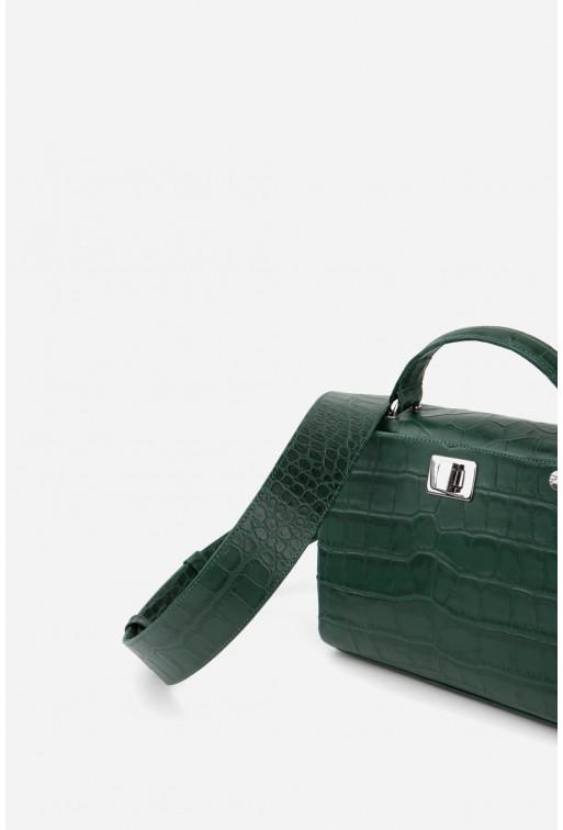 Портфель ERNA MINI з зеленої шкіри під рептилію /срібло/
