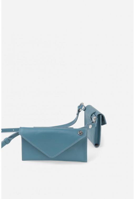 Belt Combo з блакитної гладкої шкіри /срібло/