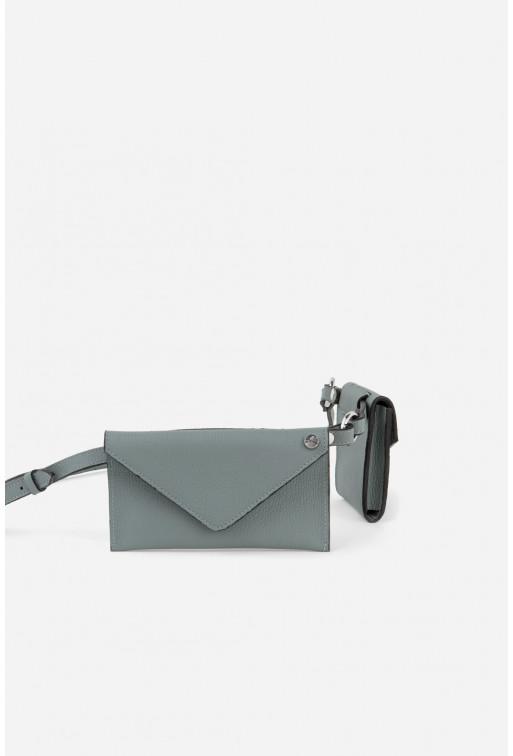 Belt Combo з сіро-блакитної шкіри флотар /срібло/