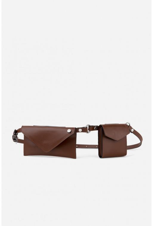 Belt Combo з коричневої фактурної шкіри /срібло/