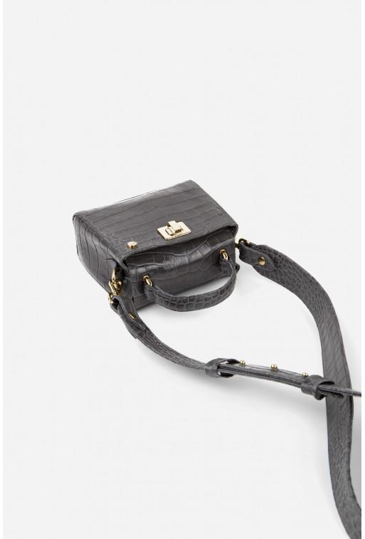 Портфель ERNA MICRO з сірої шкіри під рептилію /золото/
