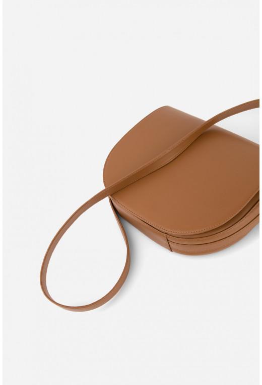 Кросбаді Saddle bag 1 з карамельної гладкої шкіри /золото/