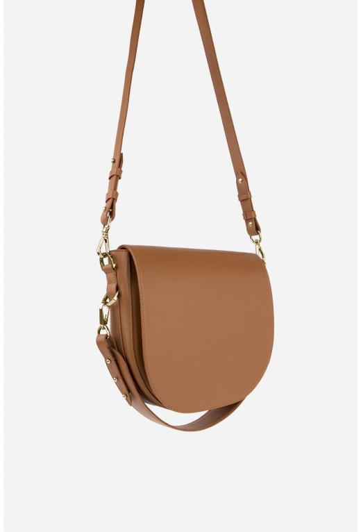 Кросбаді Saddle bag 1 з карамельної гладкої шкіри /срібло/