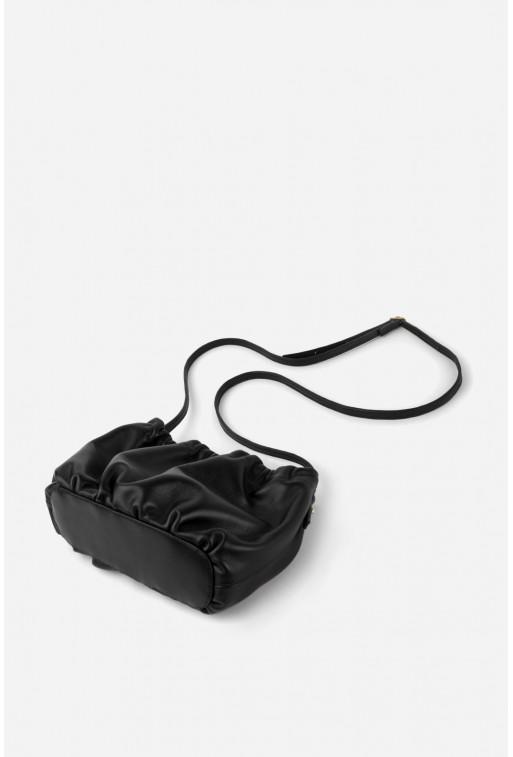 Кросбоді CLOUD BAG з чорної шкіри /золото/