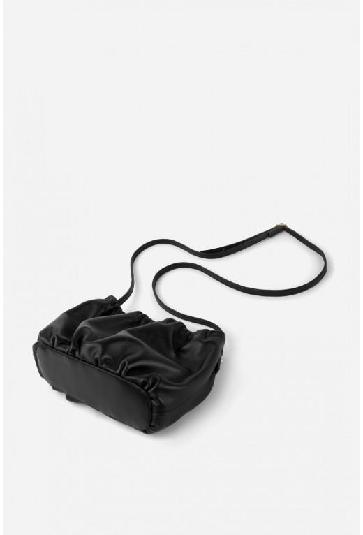 Кросбаді Cloud Bag  з чорної шкіри /золото/