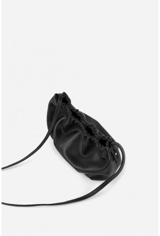 Кросбоді CLOUD BAG  з чорної шкіри /срібло/